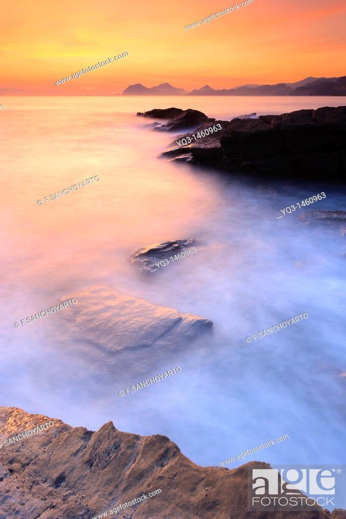 Stock Photo: Coast at sunrise, Castro Urdiales, Cantabria, Spain.