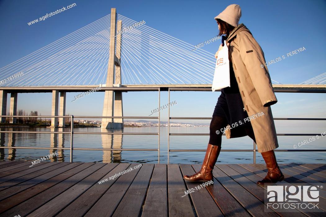 Stock Photo: Vasco da Gama Bridge  Lisbon  Portugal.