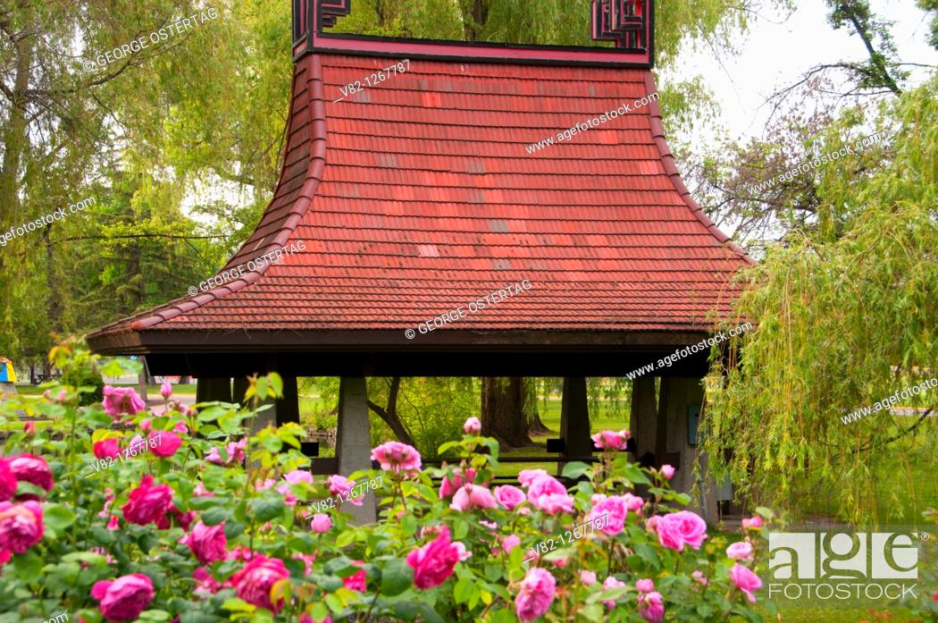 Stock Photo: Chinese Pagoda picnic shelter from Rose Garden, Polson Park, Vernon, British Columbia, Canada.