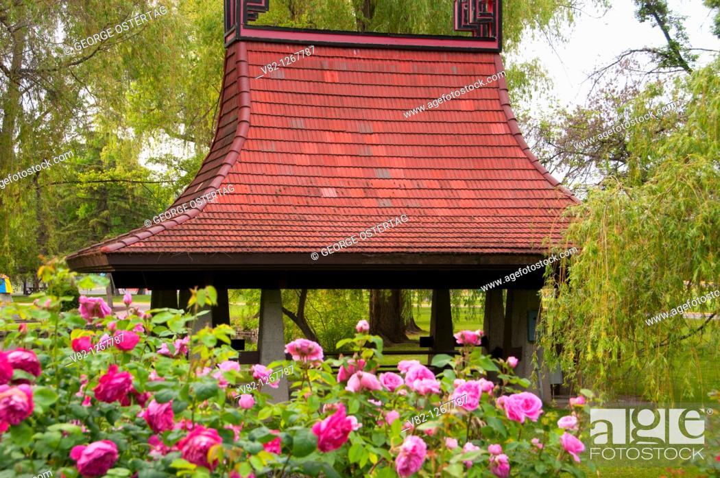 Stock Photo: Chinese Pagoda picnic shelter from Rose Garden, Polson Park, Vernon, British Columbia, Canada.