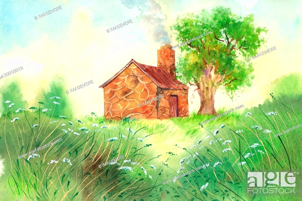 Stock Photo: Flower, Watercolor painting of a hut and a tree on the lawn.