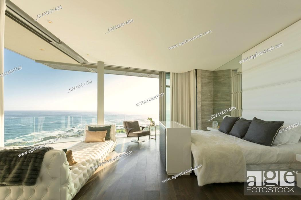 Luxury Modern Home Showcase Bedroom With Sunny Ocean View