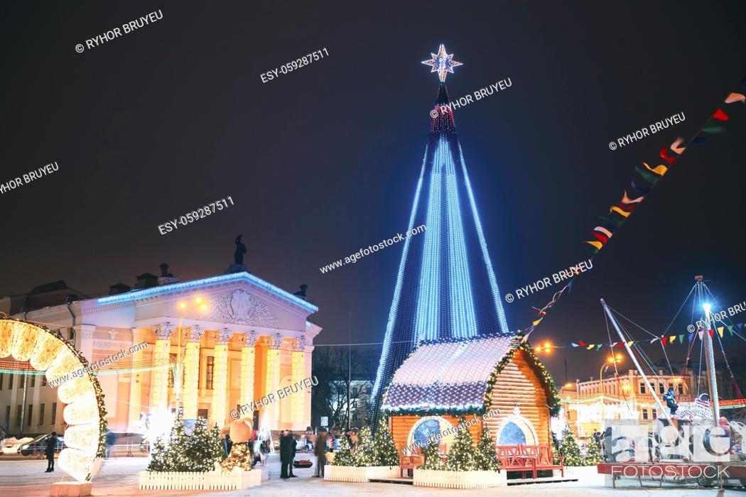 Stock Photo: Gomel, Belarus. Main Christmas Tree And Festive Illumination Decorations On Lenin Square In Gomel. New Year In Belarus.