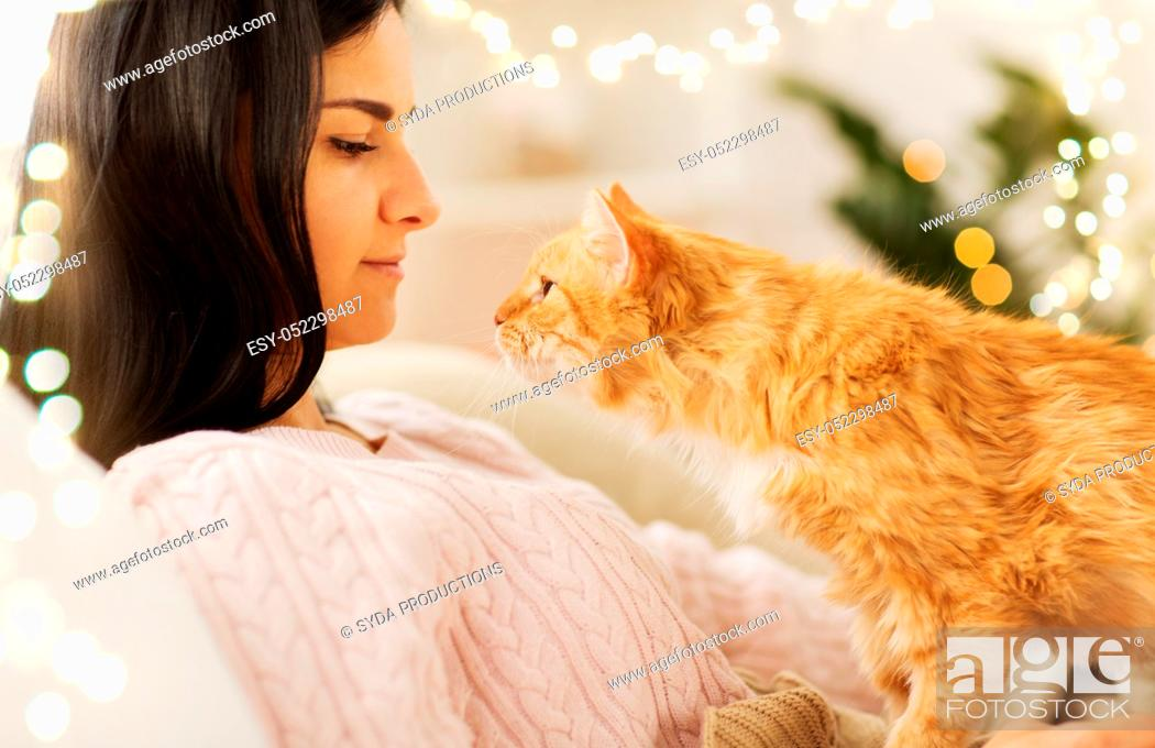 Stock Photo: close up of owner with red cat in bed at home.