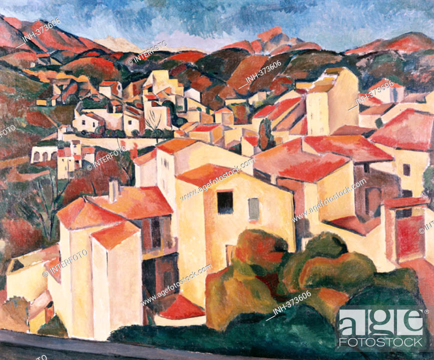 Stock Photo: fine arts, Derain, Andre, 1880 - 1954, painting, 'view of Cagnes', 1910, Folkwang Museum, Essen, historic, historical, Europe, France, 20th century, fauvism.
