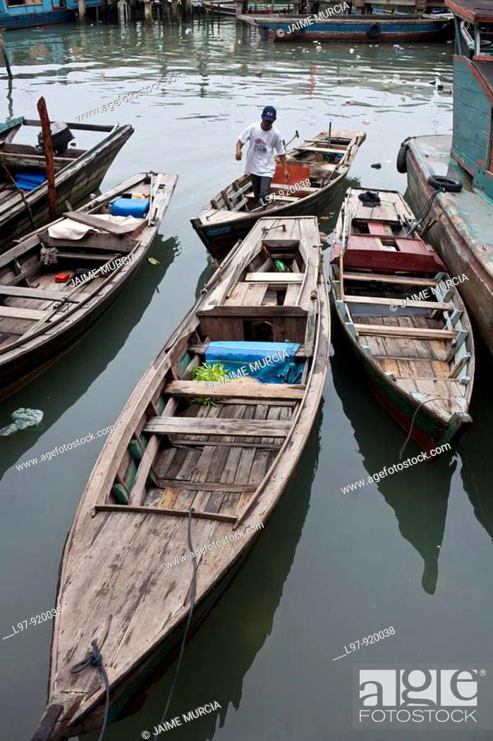 Stock Photo: Sampan boats indonesia.