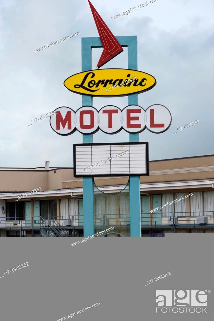 Stock Photo: Lorraine motel neon sign, National Civil Rights Museum, National Civil Rights Museum.