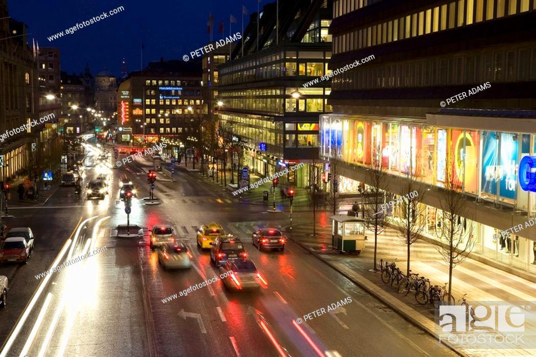 Stock Photo: Hamngatan shopping street, Stockholm, Sweden.