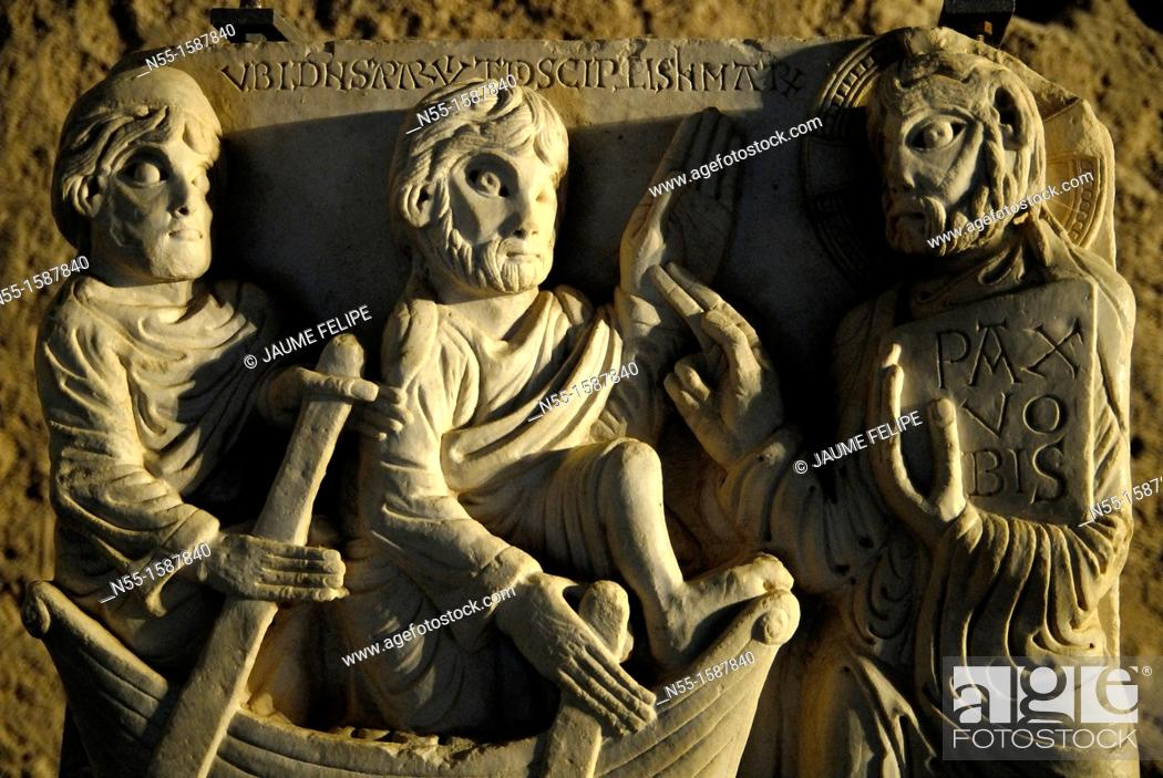 Stock Photo: Interior of the Monastery of Sant Pere de Roda, XI century, Port de la Selva, Girona, Catalonia, Spain.