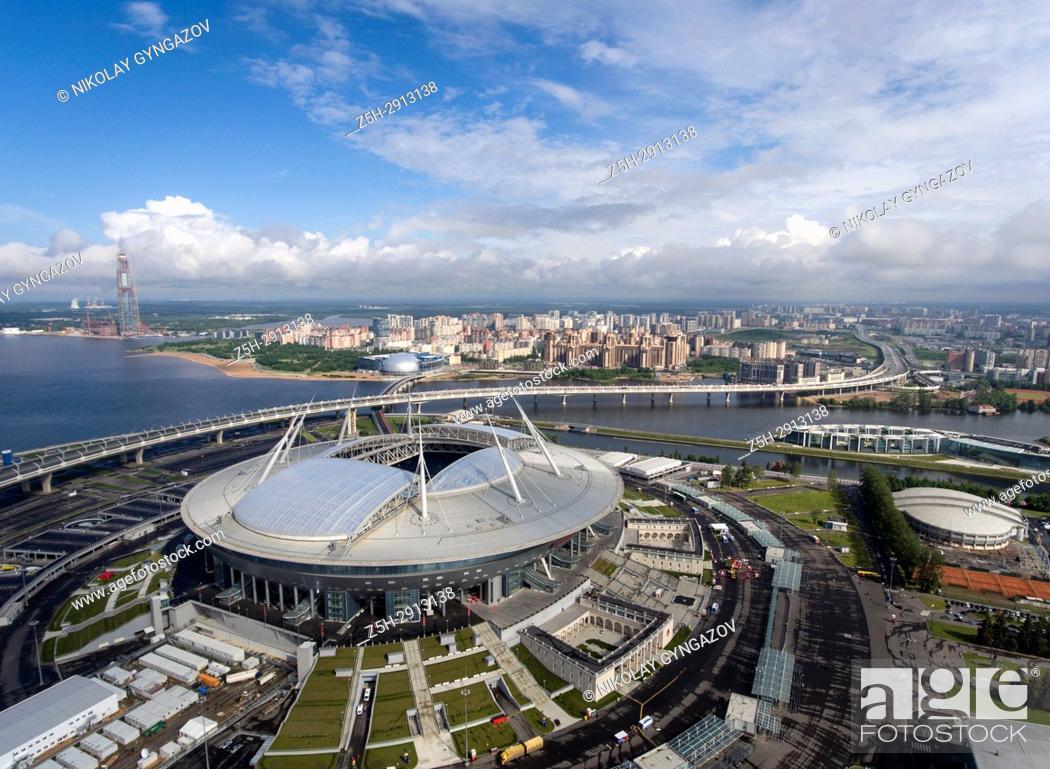 Stock Photo: Football stadium Zenit-Arena in St. Perepberburg. Russia.