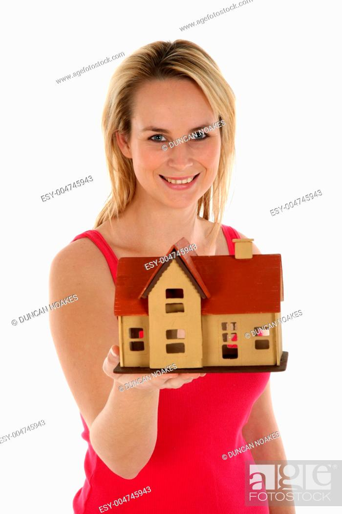Stock Photo: Lady Selling House Concept.