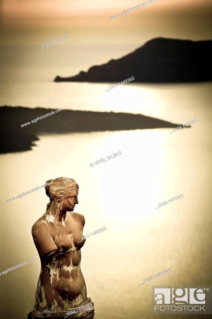 Stock Photo: Greek statue in Fira village  Santorini island, Cyclades islands, Aegean Sea, Greece, Europe.