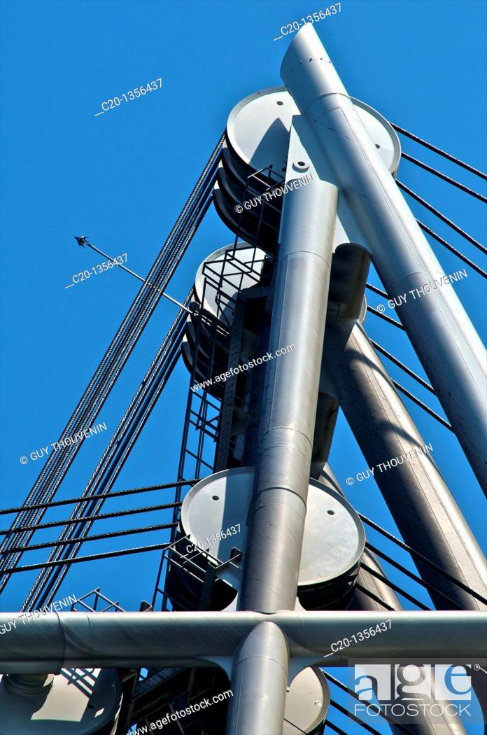 Stock Photo: Flaubert Draw Bridge detail of mechanism Rouen Normandy 76 France.