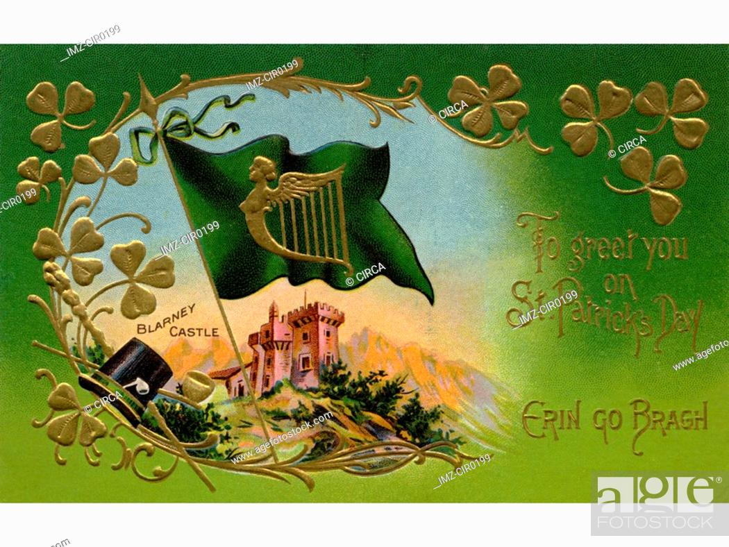 Stock Photo: A vintage St. Patricks Day Souvenir card with an illustration of Blarney Castle.