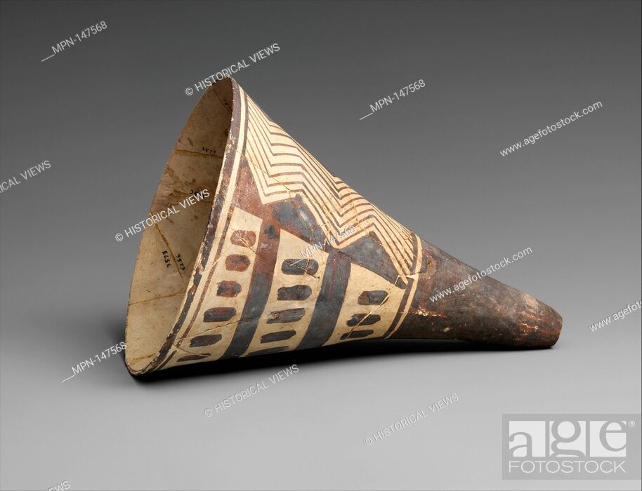 Cone Shaped Vase With Geometric Decoration Period Chalcolithic