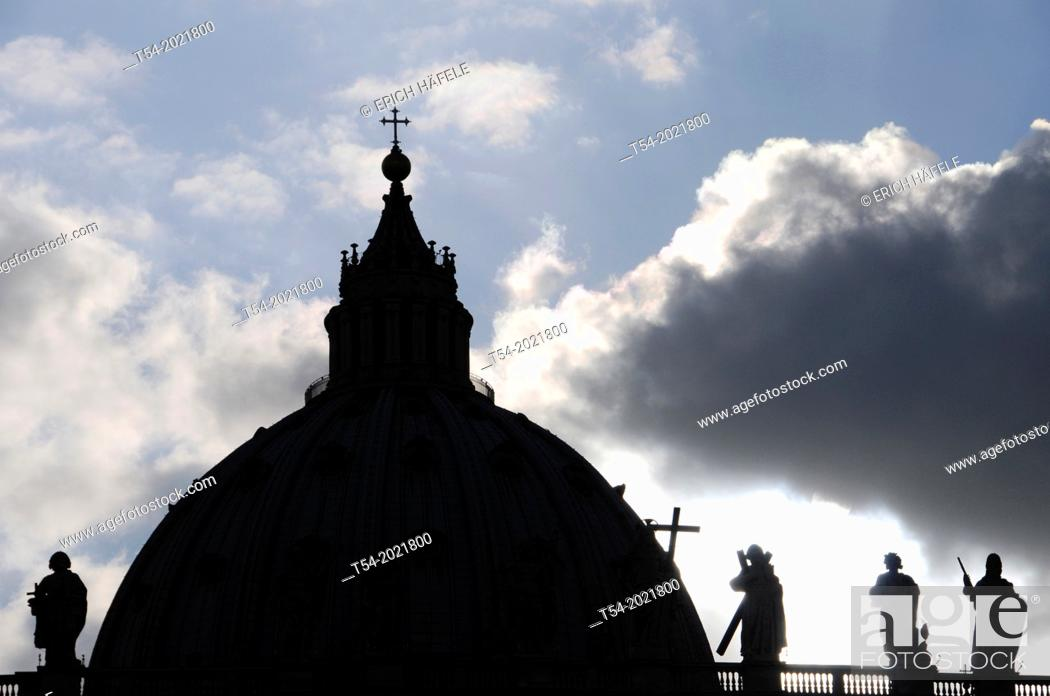Stock Photo: Silhouette of the dome of St. Peter's Basilica in Rome.