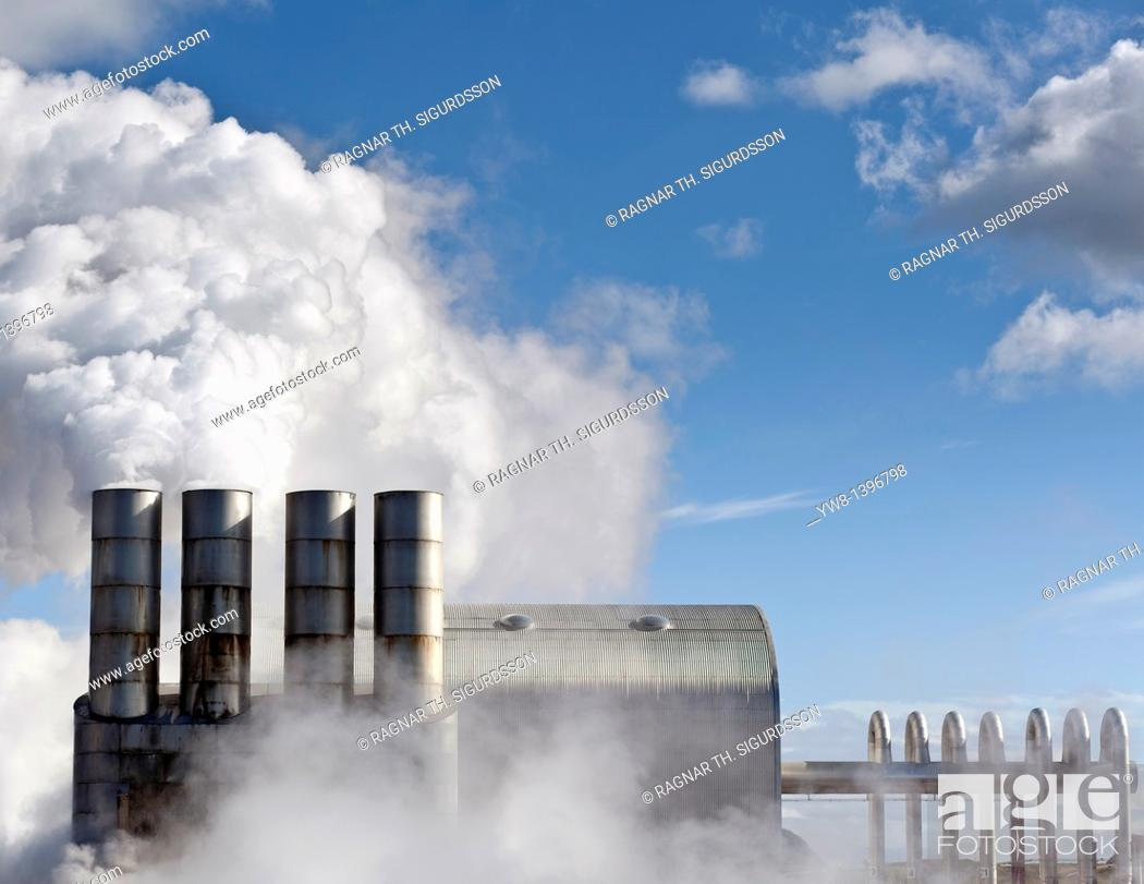Stock Photo: Steaming pipes at Svartsengi Geothermal Power Plant, Reykjanes Peninsula, Iceland.