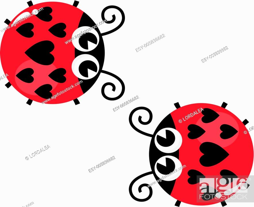 Stock Vector: Valentine's love lady bugs pair isolated on white.