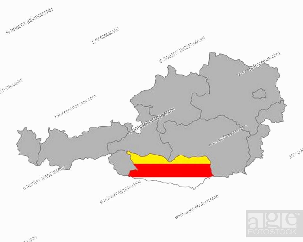 Karte Von Osterreich Mit Fahne Von Karnten Stock Photo Picture