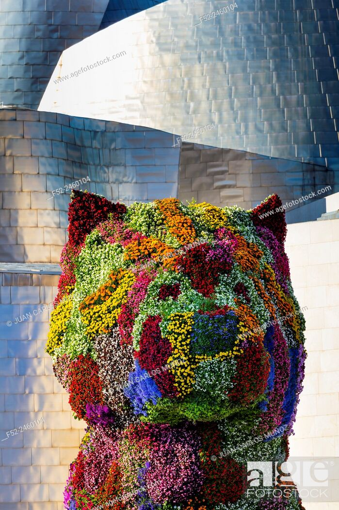 Stock Photo: Puppy, by Jeff Koons. Guggenheim Museum, Bilbao, Bizkaia, Basque Country, Spain, Europe.