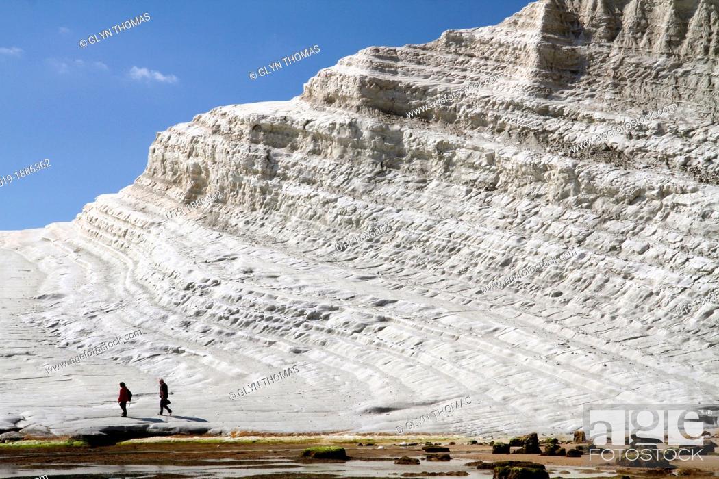 Stock Photo: Scala dei Turchi, a rock formation in the cliffs near Realmonte, Porto Empedocle, Sicily.