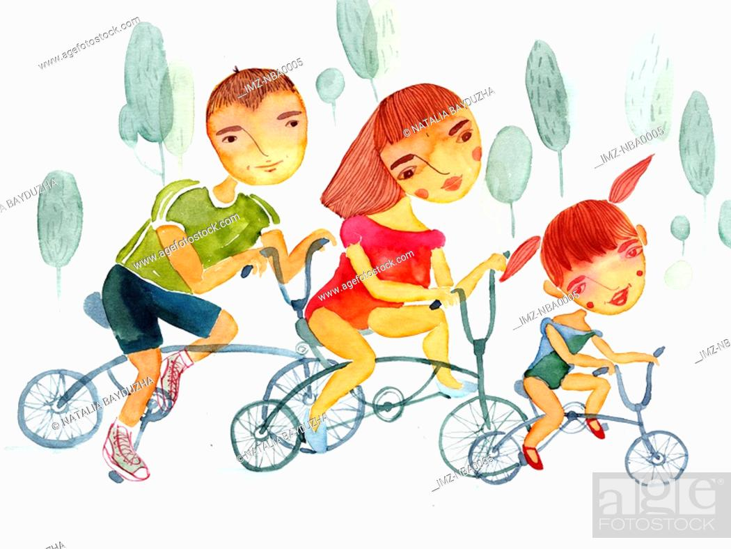 Stock Photo: Family riding bicycles.