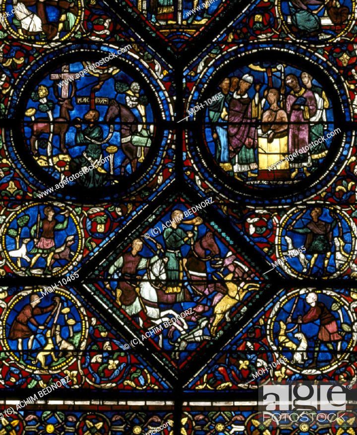 Stock Photo: Chartres, Kathedrale, nördliches Seitenschiff/ Eustachius-Fenster: Eustachius reitet zur Jagd (1200/1210).