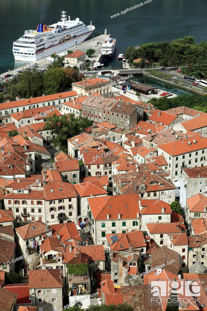 Stock Photo: Montenegro, Kotor, old town, bay, cruise ship, general aerial view,.