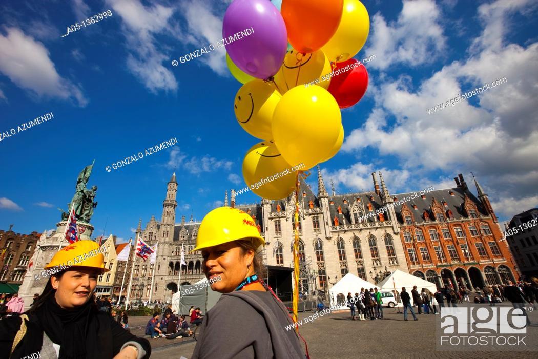 Stock Photo: Markt Square, Bruges, Brugge, Flanders,Belgium, UNESCO World Heritage Site.
