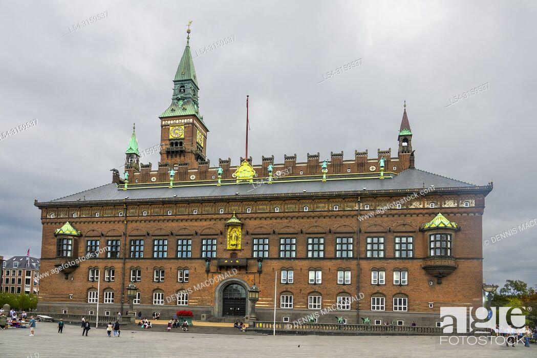 Stock Photo: Denmark Zealand Copenhagen City Hal lCopenhagen Denmark capital city.