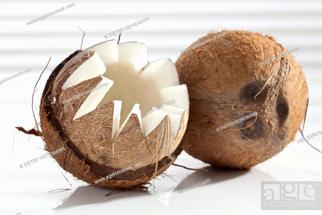 Stock Photo: Coconut on white background, close up.