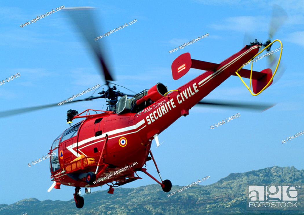 Stock Photo: Helicopter in flight.