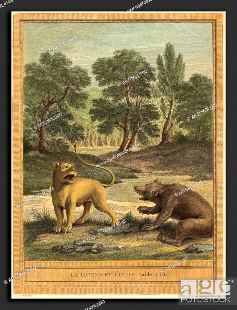 Stock Photo: Louis-Simon Lempereur after Jean-Baptiste Oudry (French, 1728 - 1807), La lionne et l'ours (The Lion and the Bear, published 1759, hand-colored etching.