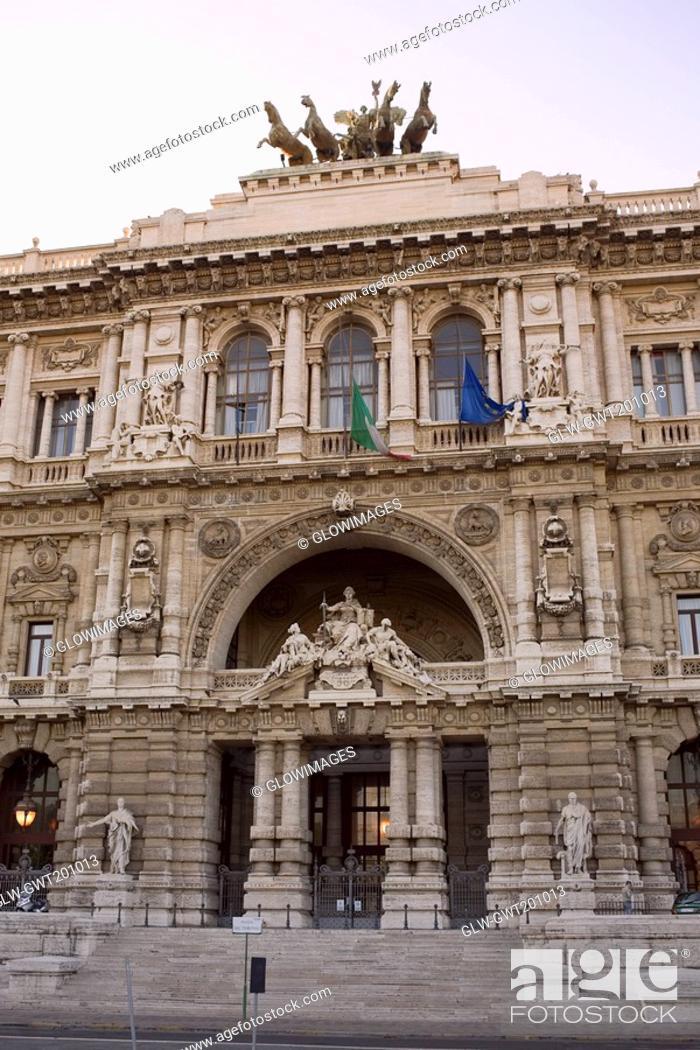 Stock Photo: Facade of a palace, Palazzo Di Giustizia, Rome, Italy.