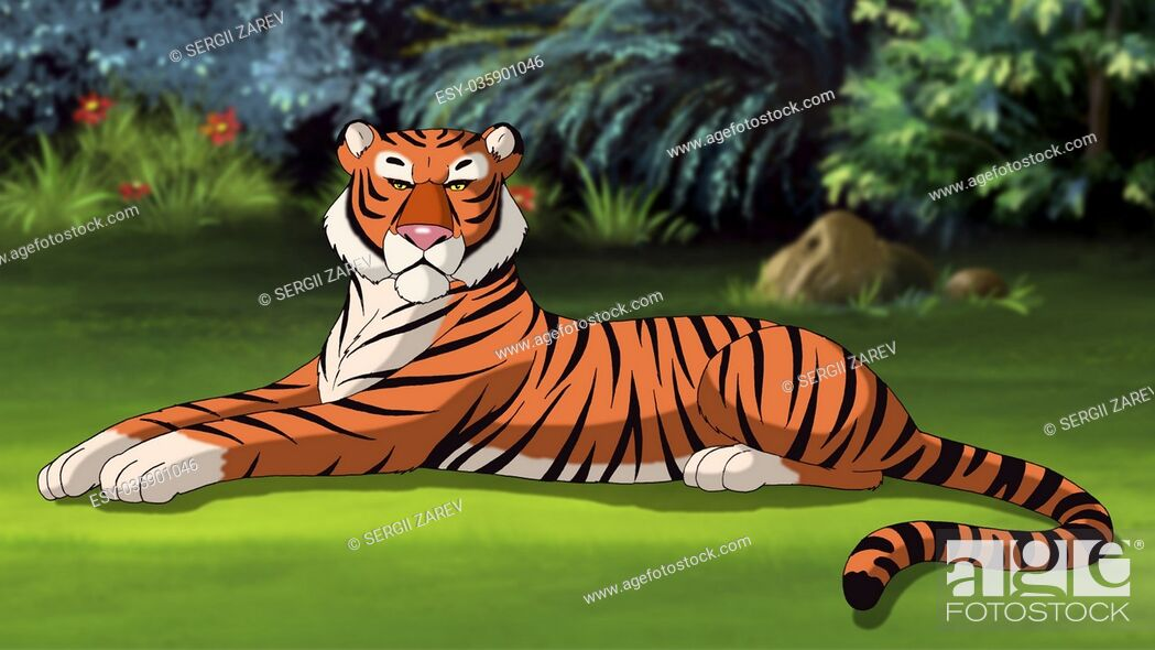 Stock Photo: Digital painting of the Bengal tiger lying on a meadow.