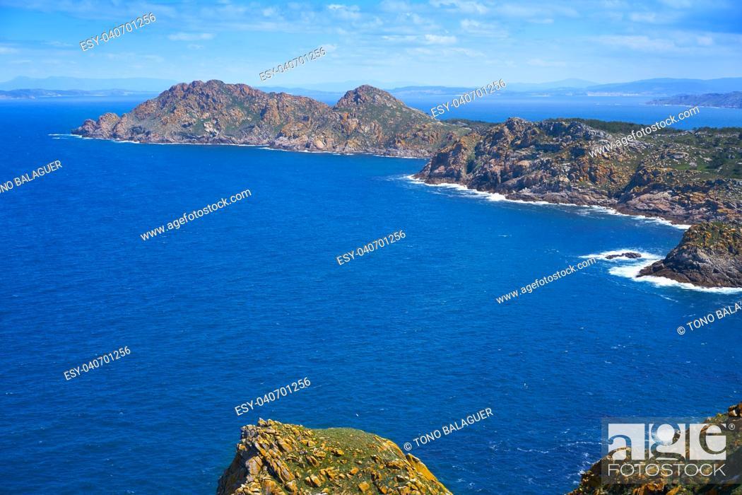 Stock Photo: Islas Cies islands aerial in Vigo of Galicia at Spain.