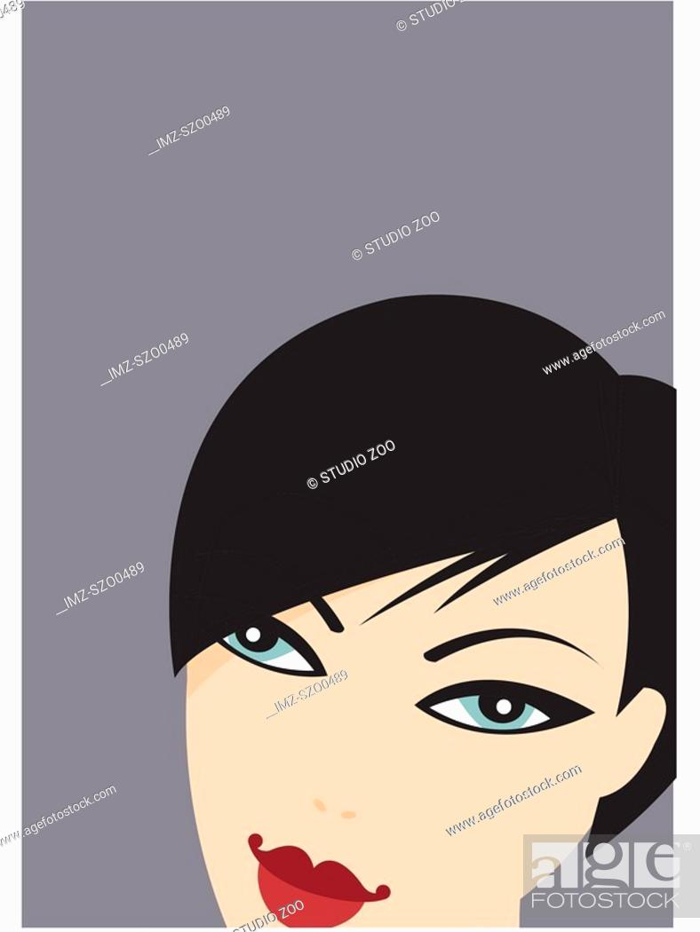 Stock Photo: Woman with short black hair.