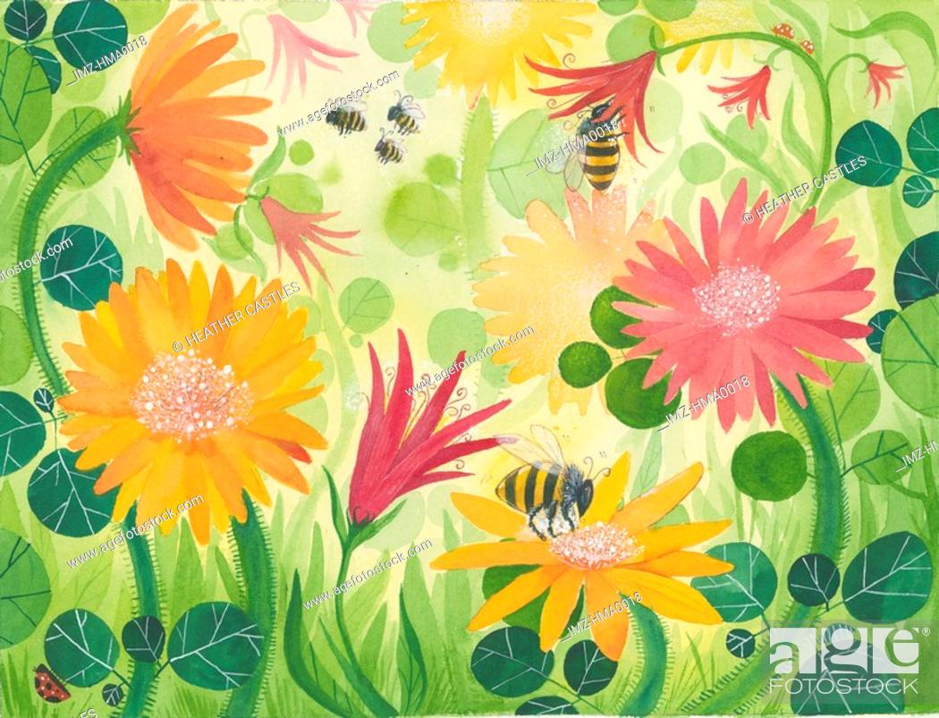 Stock Photo: A picture of spring flowers with bees.