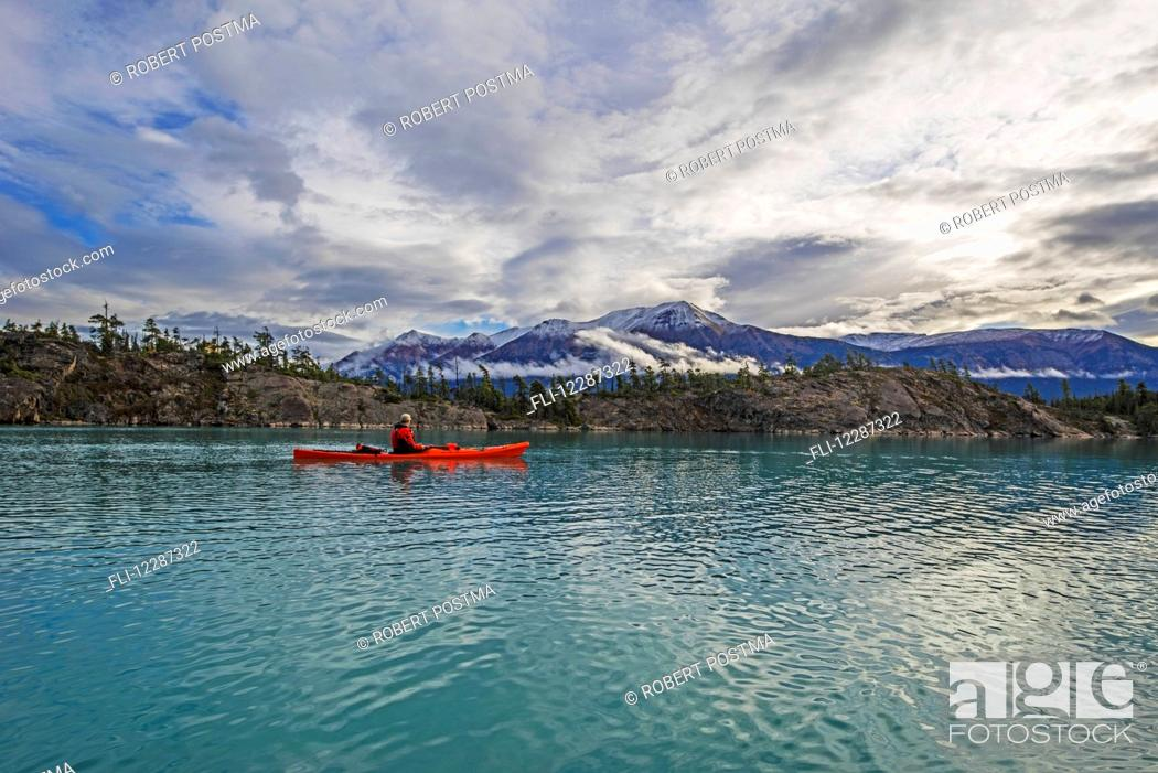 Stock Photo: Kayaking on Atlin Lake; Atlin, British Columbia, Canada.