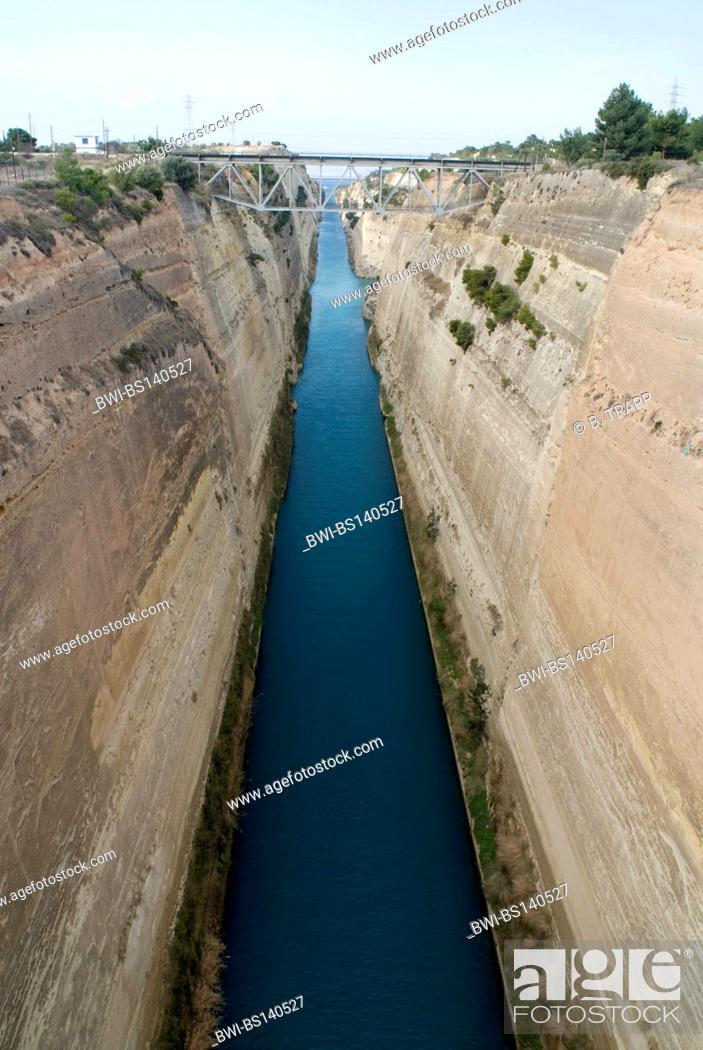 Stock Photo: canal of Korinth, Greece, Peloponnese, Isthmus von Korinth, Corinth.