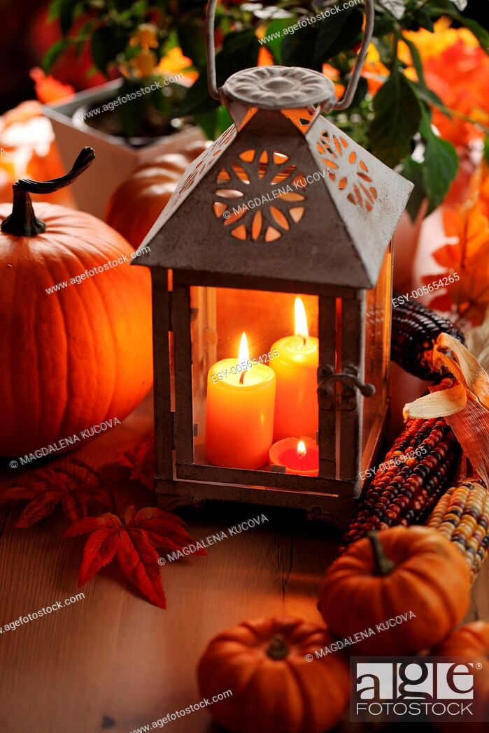 Stock Photo: Lantern with candles, pumpkins and autumn decorations.