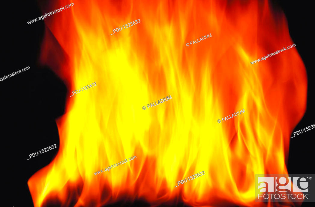 Stock Photo: close-up of flames from a fire rising.