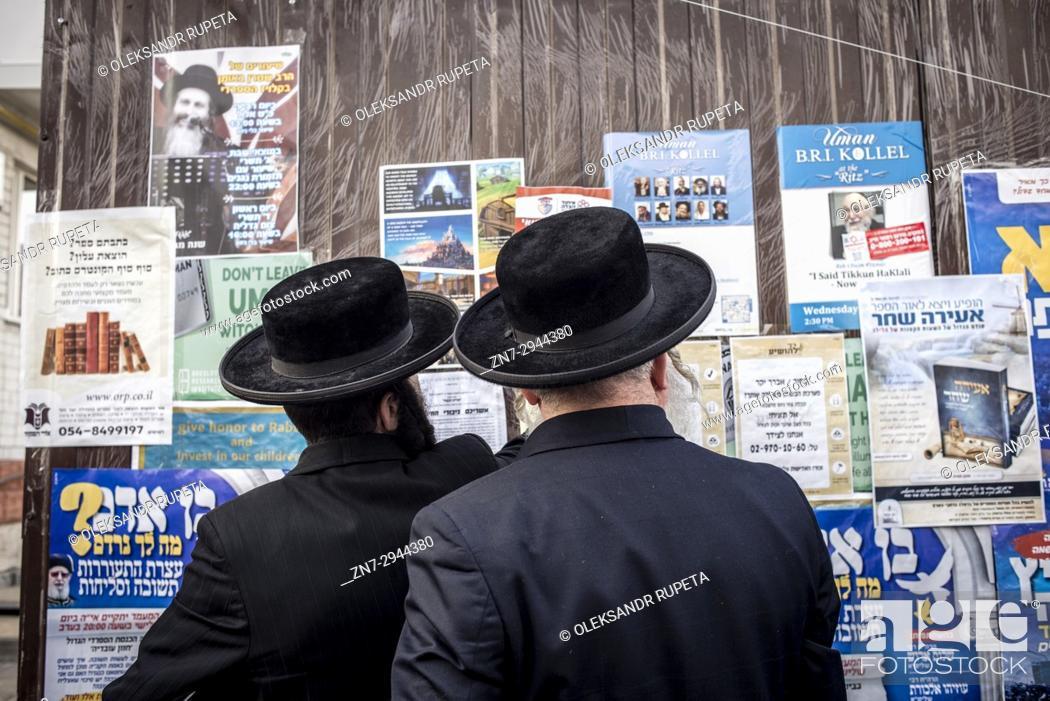 Stock Photo: Jewish New Year in Uman, Ukraine. Every year, thousands of Orthodox Bratslav Hasidic Jews from different countries gather in Uman to mark Rosh Hashanah.