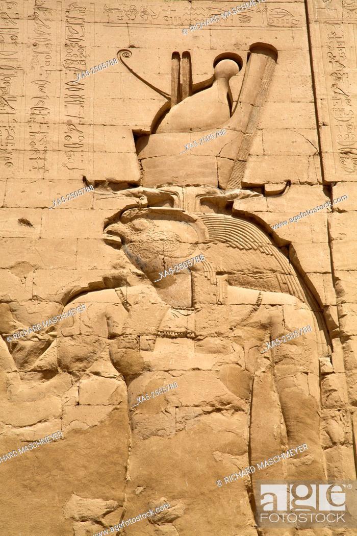 Stock Photo: Reliefs Depicting Horus, Pylon, Temple of Horus, Edfu, Egypt.
