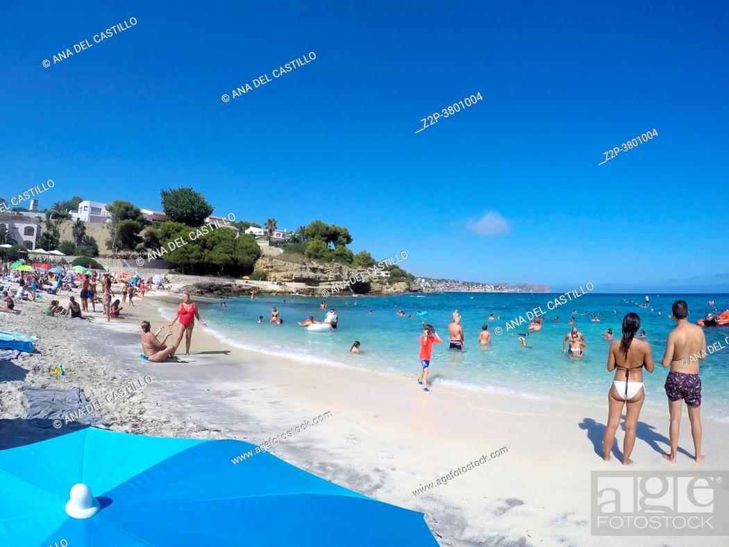 Stock Photo: Fustera beach Mediterranean sea in Benissa Alicante Spain.