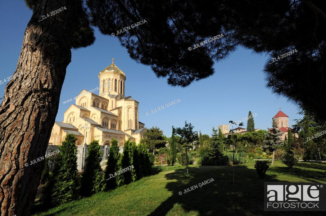 Stock Photo: Holy Trinity Cathedral of Tbilisi, garden. Georgia, Tbilisi.	1015.
