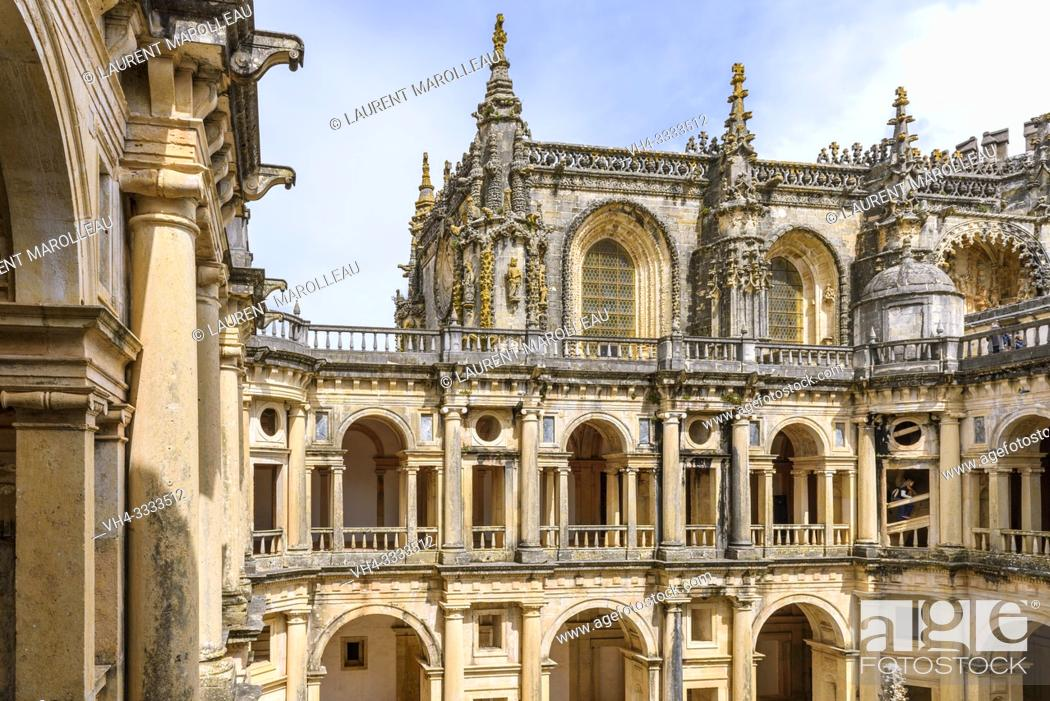 Stock Photo: The Cloister of John III and the Manueline nave of Convent of Christ, Tomar, Santarem District, Centro Region, Portugal, Europe.