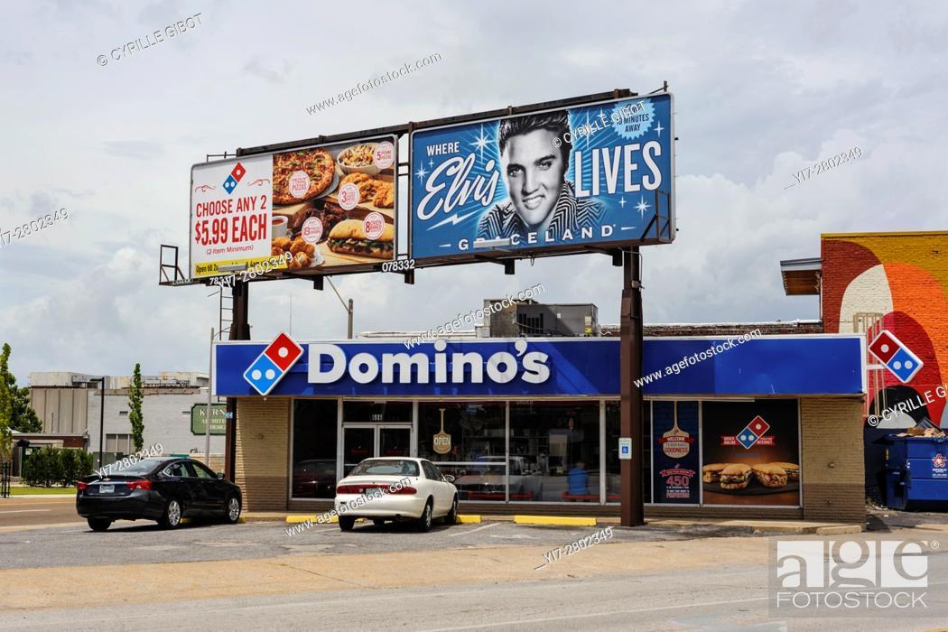 Stock Photo: USA, Tennessee, Memphis, billboard advertising for Elvis Presley's Graceland.
