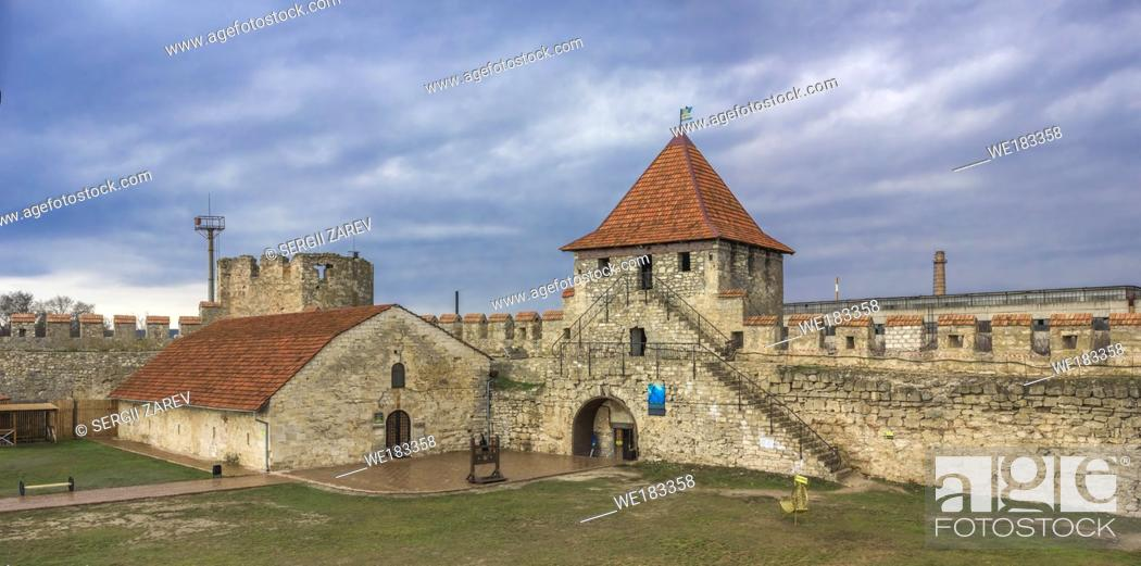 Stock Photo: Old historic Fortress on the banks of the Dniester River, Bender city, Transnistria, Moldova.