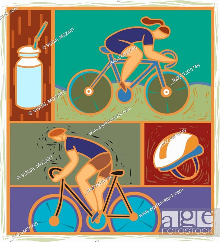 Stock Photo: Illustration of two cyclists.